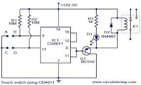 touch switch using cd4011 electronic circuits and diagram touch switch circuit using cd4011