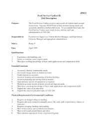 fast food cashier job description resume  resume for study