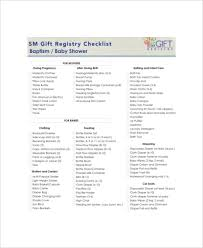 Gift Registry Template 5 Baby Gift Registry Checklists Free Sample Example