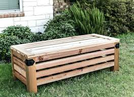 how to build an outdoor storage ottoman with strong tie free building plans bench ideas backrest