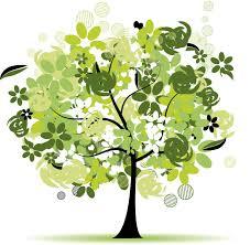 緑色の花のイラストフリー素材no159夏の樹木黄緑白