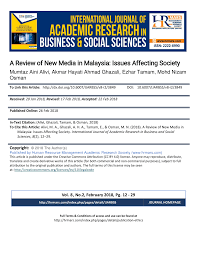 Pdf A Review Of New Media In Malaysia Issues Affecting Society