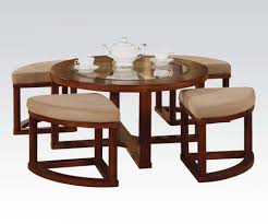 round glass coffee table with stools ottoman