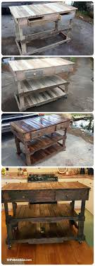 Pallets Wood Made Kitchen Island - 101 Pallet Ideas & Pallet Projects