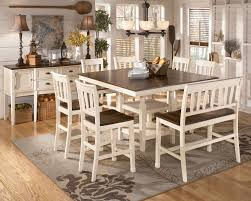 formal dining room sets for 8. Whitesburg 8-Piece Square Counter Height Extension Table Set In Brown - White Formal Dining Room Sets For 8