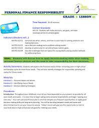 Personal Finance Model Personal Finance Responsibility Grade Lesson