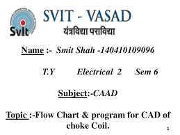 Flow Chart Program For Caad Of Choke Coil