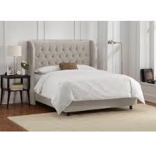 Velvet Light Grey King Tufted Wingback Bed 413BEDVLVLGHGR - The Home ...