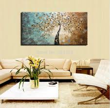 ... Living Room, Blossom Oil Painting On Canvas For Living Room Decoration  Gift Artwork For Living ...