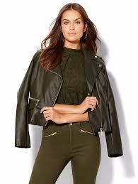 ny company black faux leather moto jacket 1