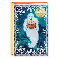 Ghost With Birthday Cake Halloween Card