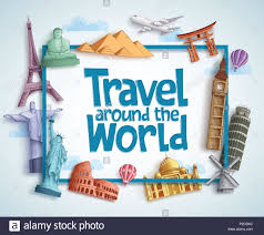 Tourism Banner Design Travel Around The World Vector Banner Design With Frame And