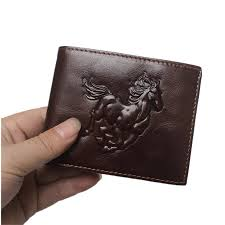 bifold genuine leather wallet with horse embossed design rfid protection