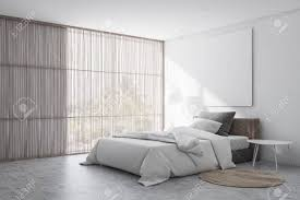 Concrete Floor Bedroom Design Corner Of Stylish Bedroom With White Walls Concrete Floor With