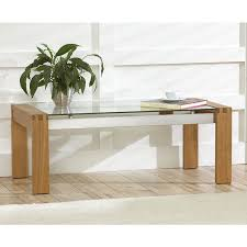 venice solid oak coffee table with glass top