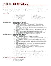 Restaurant Manager Resumes Free Resume Samples Best Example For Adorable Resturant Manager Resume