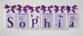 wooden blocks model sign baby name letters for nursery wall purple butterfly flower ribbon theme
