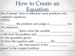 how to create an equation key concept how to translate word problems into algebraic equations
