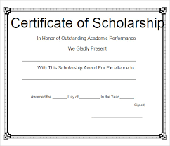 Scholarship Certificate Template Scholarship Certificate Template Templates Example