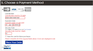 credit card form error messages