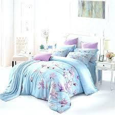 papamima purple flowers light blue bedding sets queen king size soft silk tencel bedlinens duvet cover