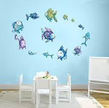 decalmile rainbow fish wall stickers ocean wall decals removable vinyl wall decor murals for bathroom nursery room children s room