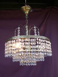 vintage chandelier with cut glass crystals france 1950 1960