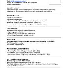 Resume Sample For High School Graduate Philippines Save Sample ...