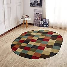 ottomanson ottohome collection contemporary checd design non skid rubber backing modern area rug 5 x 6 6 oval multicolor