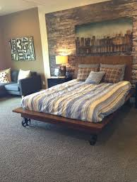 Classic Low Barn Wood Master Bed Frame With Sectional Couch As ...