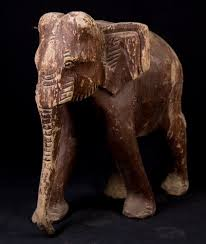 old teak wooden elephant from burma made from wood