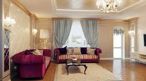 charming tan living room with cream wall clor and purple leather sofa also crystal chandelier plus blue curtain decorating idea