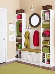a good storage bench and two narrow storage units is usually more than enough to organize