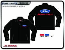black ford racing logo. ford racing mens black nascar mechanic jacket with screen print logos by jh design logo