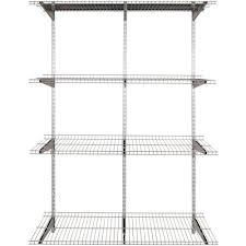 rubbermaid fasttrack garage 4 shelf 16 in x 48 in silver metallic wire