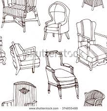 hand drawn seamless pattern with set of outline old vine living furniture chairs armchairs