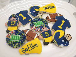 Football Cookie Cake Designs University Of Michigan Go Blue Decorated Sugar Cookies