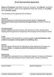 sponsorship agreement event sponsorship agreement template sponsor agreement sponsorship