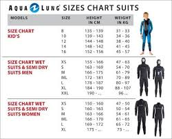 Aqua Lung Wetsuit Size Chart Oyster Diving Equipment