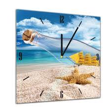 Glasuhr Sonne Strand Und Meer Flaschenpost Mit Seestern Ii