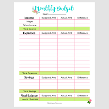 budget templets printable monthly budget template