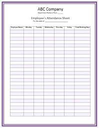 Free Printable Attendance Sheets Preschool Sheet Template