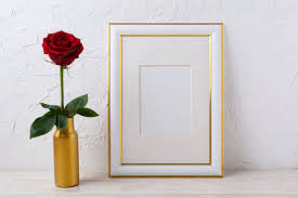 White frame mockup with dark red rose in vase photo by TasiPas on Envato  Elements