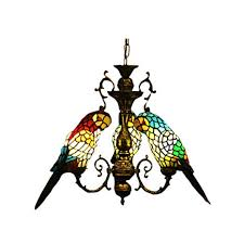 <b>FUMAT Tiffany Style Stained Glass</b> Parrot Chandeliers 3 Heads ...