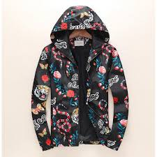 gucci 07211628 gucci men s tiger colorful flowers hoo design casual cotton casual jacket coat m