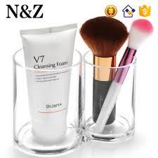 nz c110 double cylinder shape women cosmetic plastic makeup brush holder