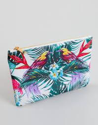 white bird print makeup bag