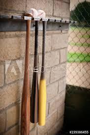 baseball bats hanging from a wall rack