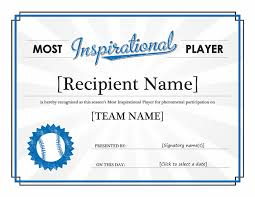 Most Inspirational Player Award Certificate Who Doesnt Love Free