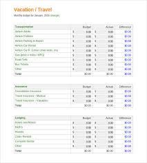 vacation budget template vacation budget template 9 free word excel pdf document